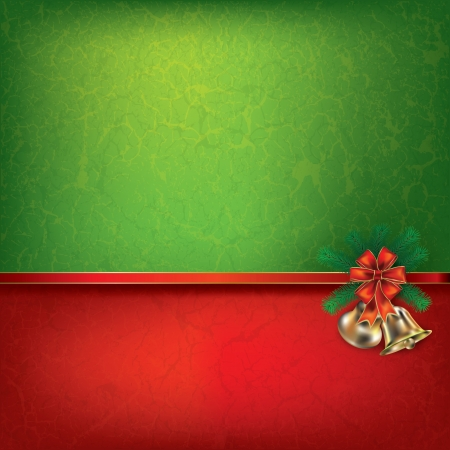 tranquil scene: Abstract grunge background with Christmas bells and ribbon