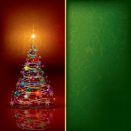 Abstract Christmas background with tree and decoration