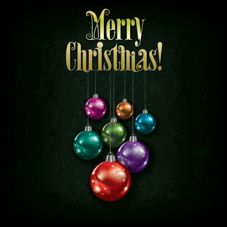 christmas decoration: Abstract grunge greeting with Christmas decorations on green background Illustration