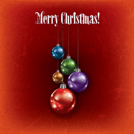 Abstract grunge greeting with Christmas decorations on red background Vector