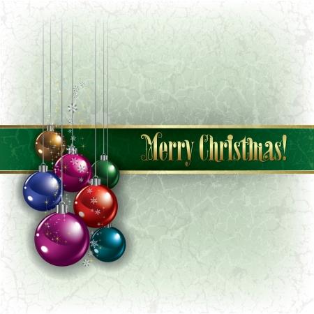 Abstract Kerstmis groet met decoraties op grunge achtergrond