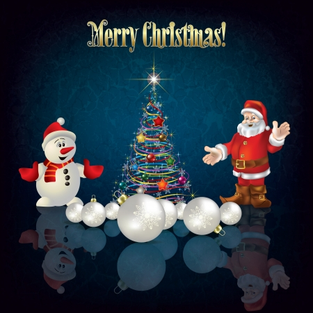 Abstract greeting with Christmas tree Santa Claus and snowman Vector