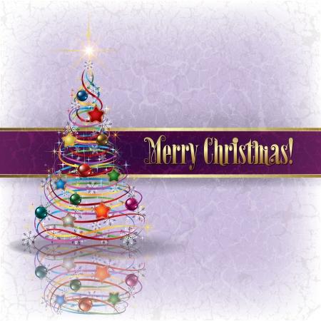 고요한 장면: 그런 지 배경에 크리스마스 트리 인사말