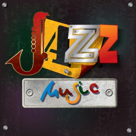 jazz background: Abstract grunge dark background with text jazz music