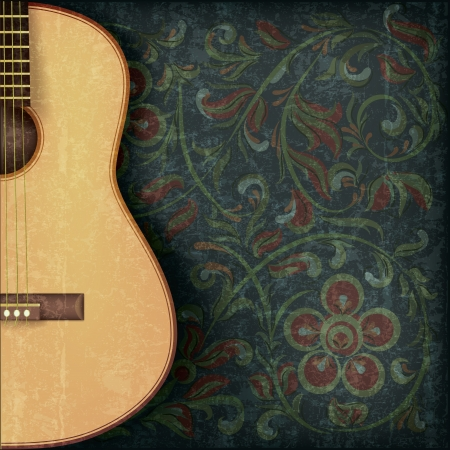 grunge music background: grunge fondo musical con guitarra y el ornamento floral Vectores