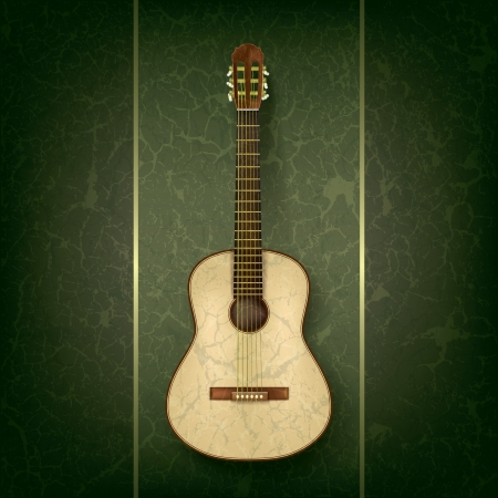 classical guitar: acoustic guitar on abstract grunge green background Illustration
