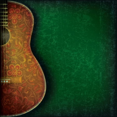 classical style: grunge music green background with guitar and floral ornament
