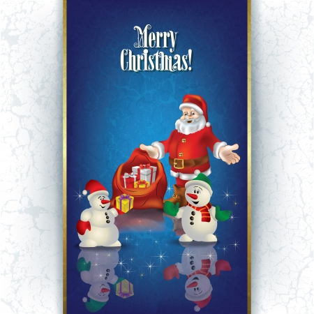 Abstract Christmas greeting with Santa Claus and gifts Vector