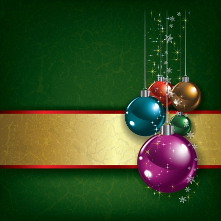tranquil scene: Abstract Christmas grunge background with decorations on green