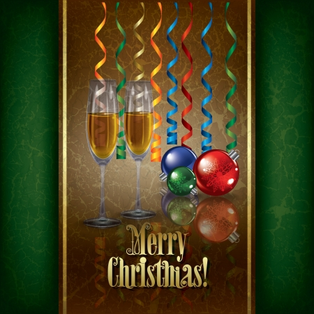 champagne celebration: Christmas grunge greeting with champagne and decorations