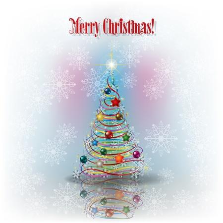 고요한 장면: 나무와 눈송이와 텍스트 메리 크리스마스 크리스마스 인사말