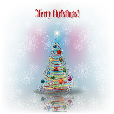 peaceful scene: Christmas greeting with tree and snowflakes and text Merry Christmas