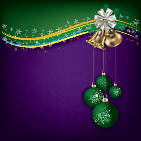 Christmas grunge background with green decorations and handbells