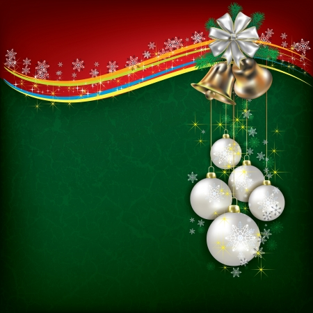 Christmas grunge background with white decorations and handbells Vector