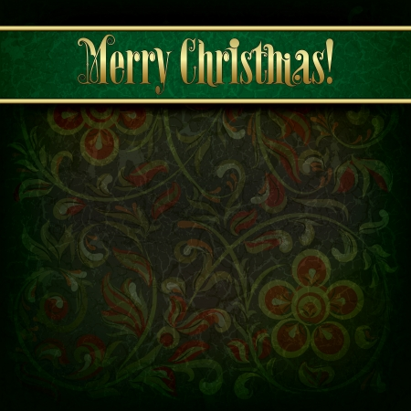Green Christmas background with grunge floral ornament Çizim