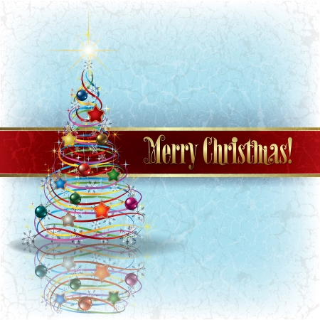 moños de navidad: saludando con el árbol de navidad en fondo azul del grunge
