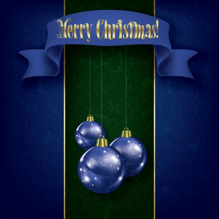 Christmas grunge greeting with blue decorations and ribbon on green Stock Vector - 15503767