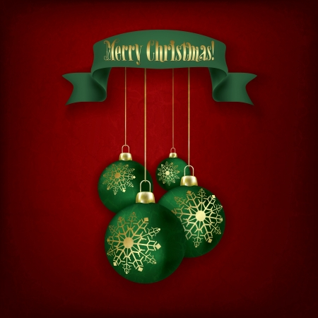 Christmas grunge greeting with green decorations and ribbon on red Vector
