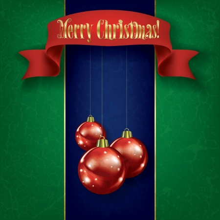Christmas grunge greeting with red decorations and ribbon on blue Vector