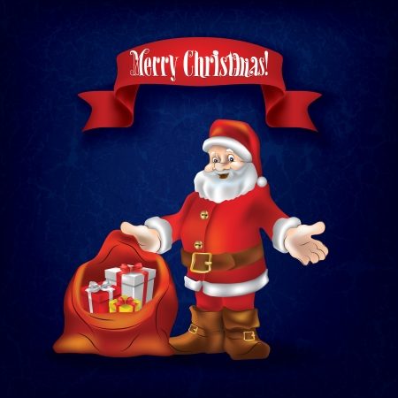 Christmas grunge greeting with Santa Claus and gifts on blue Vector