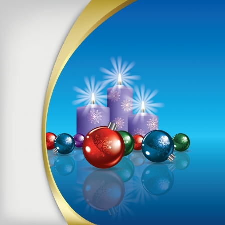 Abstract Christmas background with decorations and candles on blue Vector