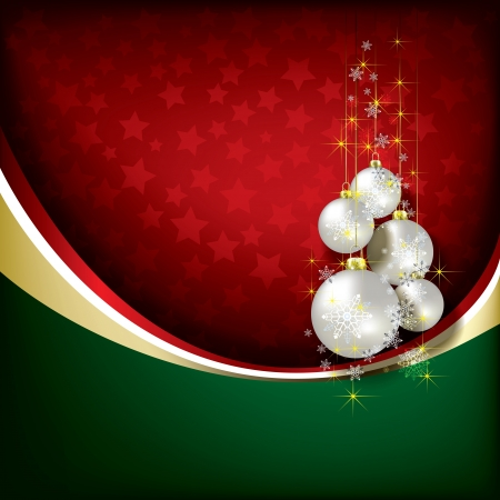 Abstract green red background with Christmas decorations Vector