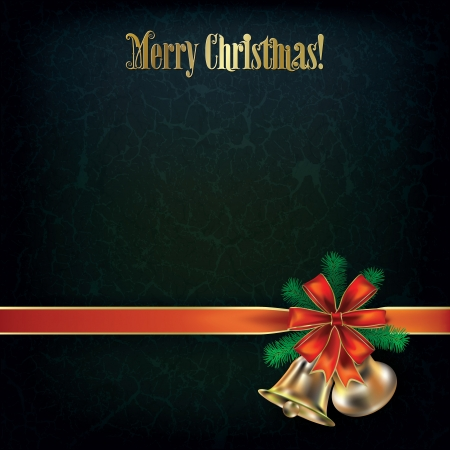 Abstract grunge green Christmas greeting with bells and red ribbon Stock Vector - 15375393