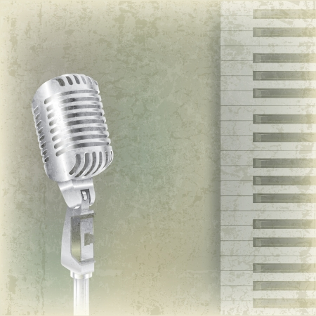 abstract grunge music background with retro microphone and piano Vector
