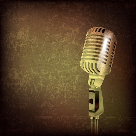 abstract grunge music background with retro microphone Vector
