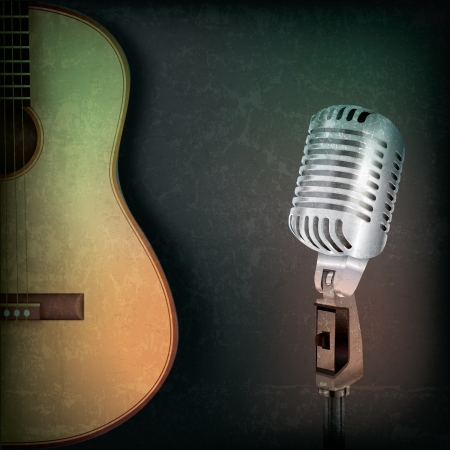 abstract music grunge background with retro microphone and guitar Çizim
