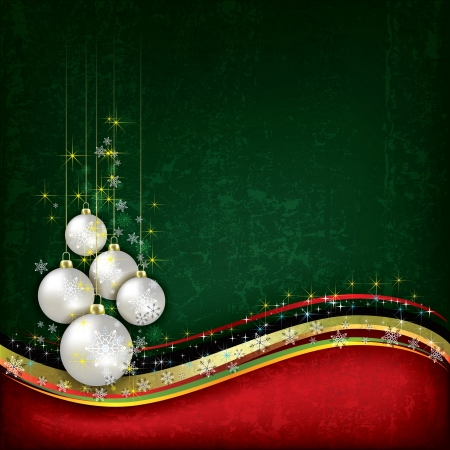 peaceful scene: Abstract background with pearl Christmas decorations on green Illustration