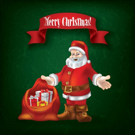 Christmas grunge greeting with Santa Claus and gifts on green Stock Vector - 15528920