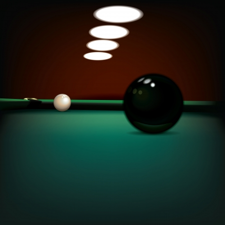 abstract illustration with billiard balls on green table