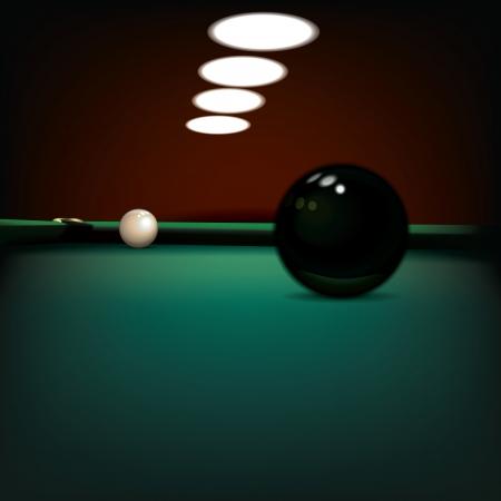 snooker room: illustrazione astratto con le palle da biliardo sul tavolo verde