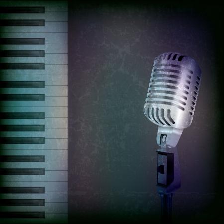 mic: abstract grunge background musicale con microfono retr� e pianoforte Vettoriali