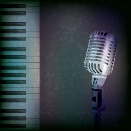 abstract music grunge background with retro microphone and piano Çizim