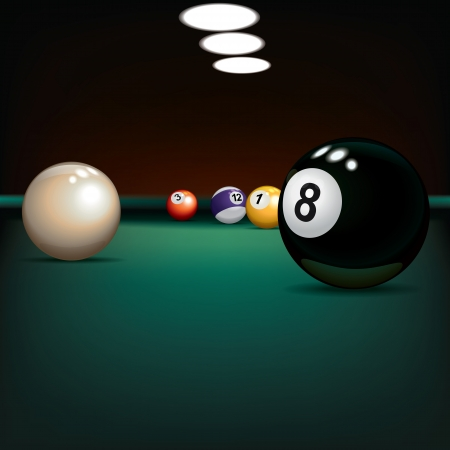 pool balls: game illustration with billiard balls on green cloth