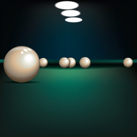 pool hall: game illustration with billiard balls on green table Illustration