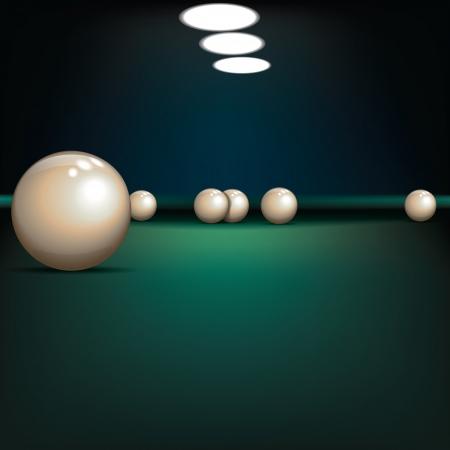 billiards room: game illustration with billiard balls on green table Illustration