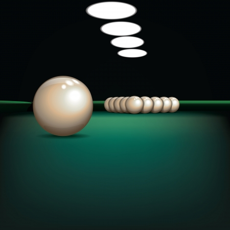 pool hall: abstract illustration with billiard balls on green cloth Illustration
