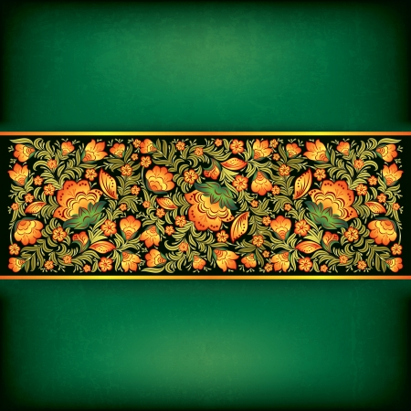 abstract grunge green background with floral ornament on black Vector