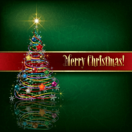 xmas background: greeting with Christmas tree on green grunge background