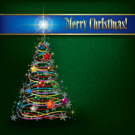 green grunge background: Christmas greeting with tree on green grunge background Illustration