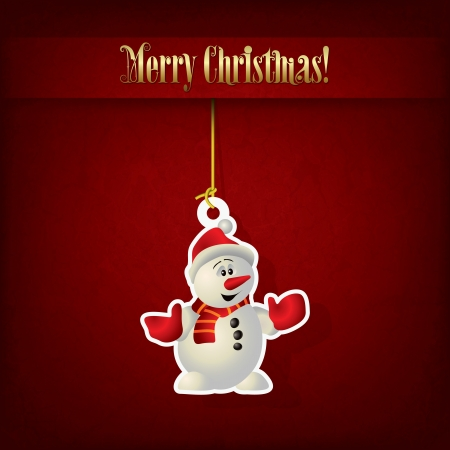 Abstract Christmas greeting with snowman on red Vector