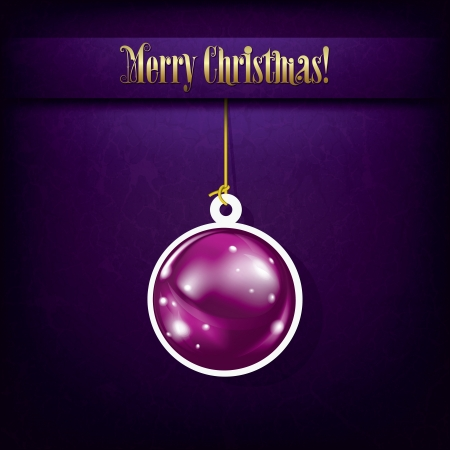 Christmas grunge greeting with decoration on purple Stock Vector - 15564520