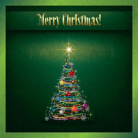 Abstract grunge Christmas greeting with tree on green Stock Vector - 15731320