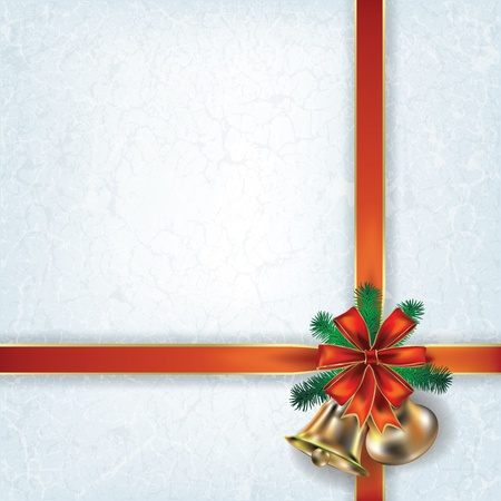 Abstract grunge Christmas background with bells and red ribbons Illustration