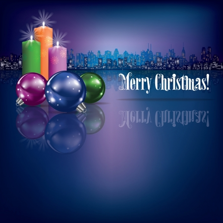 abstract Christmas background with candles and silhouette of city Çizim