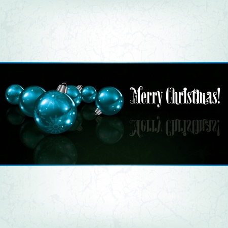 Christmas grunge background with blue decorations on black Vector