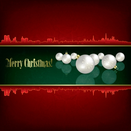 Christmas grunge background with white decorations and silhouette of city Stock Vector - 15906681